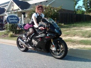 Miss Busa on her BMW S1000RR.