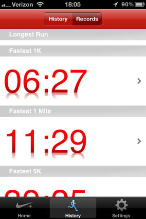 A screenshot of my Nike+ GPS app: A record day!